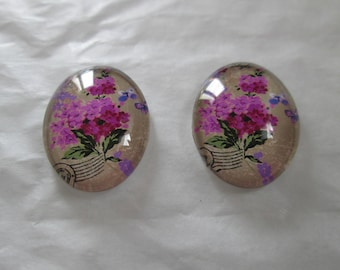 2 cabochons glass 25 x 18 mm pink flower bouquet pattern
