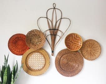 Vintage Wicker Basket Collection + Set of 7 + Basket Wall Set + Boho Hanging Decor + Woven Basket Collection + Neutral Brown Red