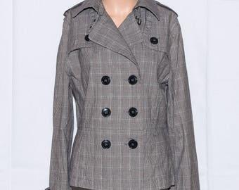 Cotton jacket,Womans jacket,Vintage jacket ,Checked Jacket, Active wear Jacket, Size 12UK/8US