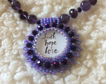 Purple bead embroidery necklace.  Purple necklace.  Bead embroidery.  Christian, religious, inspirational.