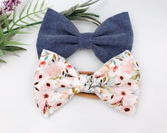 Baby Girl hand tied Bow set - Nylon Headbands - Hair clip - Infant / Toddler /  Fabric Hair Bows / Clips - chambray / MAE fall