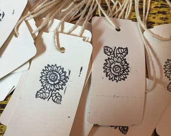25 Handmade Price Tags with String~Sunflower Stamped~Gift Tags