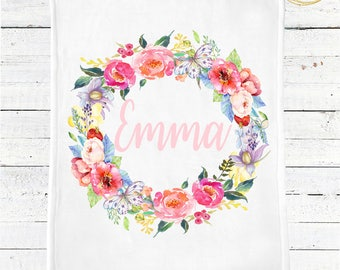 Floral Baby Blanket Personalized / Custom Floral Baby Blanket / Floral Baby Shower / Floral Baby Girl Bedding / Watercolor Baby Blanket Girl