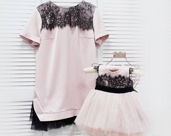 Pink blush mother daughter matching dresses Girls Tutu dress, full skirt, party lace dress, birthday first communion  loose lace dress