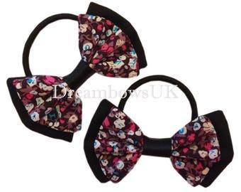 Pretty floral cotton hair accessories on thick bobbles, Girls party hair bows, thick hair elastics, Handmade hair bows for girls, hair ties