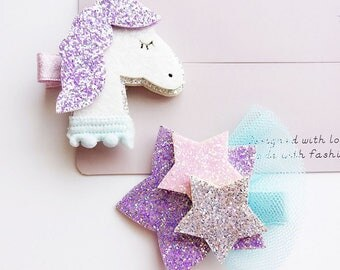 DIY Baby Girls Unicorn / Stars hair Clips,Cute for Birthday Party ,Photo Shoots, Toddler Baby Hair Clips
