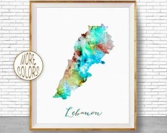Lebanon Map Art Lebanon Print Lebanon Art Print Home Decor Wall Art Decor Home Wall Decor Watercolor Painting Wall Prints ArtPrintZone