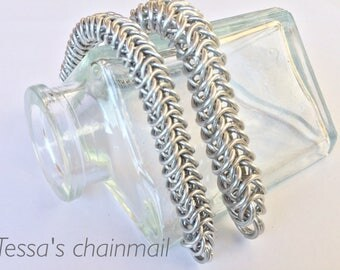 Chainmaille bracelet, silver bracelet, chainmaille box, chainmaille silver bracelet, industrial bracelet, silver jewelry, Tessa's chainmail