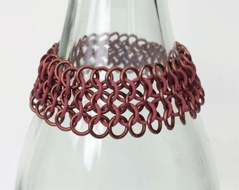 Stretch european 4-1 chainmaille bracelet with Brown rubber and aluminum jump rings, Stretchable Cuff bracelets, Tessa's chainmail
