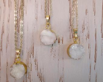 Round White Druzy Gold Necklace Stunning Natural Druzy Electroforming Round Fashion Pendant