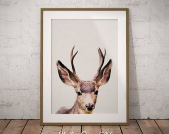 Deer, Woodland Deer Printable, Nursery Deer Print Art, Woodland Deer Nursery Decor, Deer Head Print Art, Deer Antler Print Art, Deer print