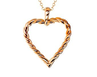 """Rose Gold IP-Plated Twisted Heart Pendant with Stainless Steel, 18"""" Chain Necklace"""