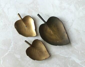 Brass leaf tray set of 3 catchall trinket ring dish botanical