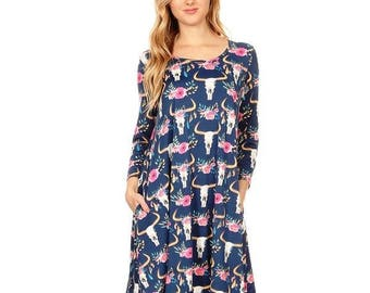 Cow Skull Flower Dress Navy with Pockets