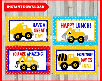 50% OFF SALE Printable Construction Lunchbox Notes instant download, Construction Lunch Box Notes, Printable Construction LOVE Notes