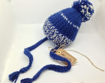 Pom Knit Hat - Baby  Hat - Classic Cabled  Hat - Hand Knit Winter Fashion - Hand made knit accessories - Knit gift - Blue White wool hat