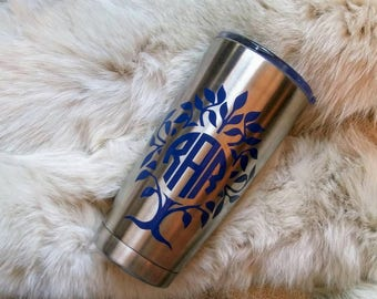 20oz stainless steel -tumbler- to go cup-monogramed - personalized. 4  types of font for monogram.