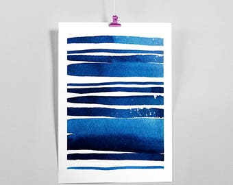 Blue stroke A, blue wave, watercolors, printable art, ocean blue, sea wave, abstract art,  contemporary art, instant download print