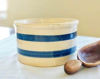 Blue Striped Clay Planter