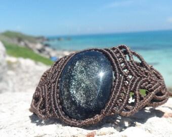 Silver Obsidian macrame bracelet