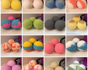 Bath Bomb Box / You Choose Lot of 5, 10 or 15 (3 oz each) W/ Shea Butter Coconut Oil Epsom Salt Handmade FREE SHIPPING (US)