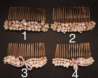 Bridesmaids hair comb wedding pearl bridal comb