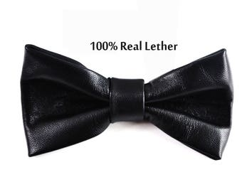 Mens 100% Real Leather SOLID BLACK Shining Bow Tie Bowties Wedding Party