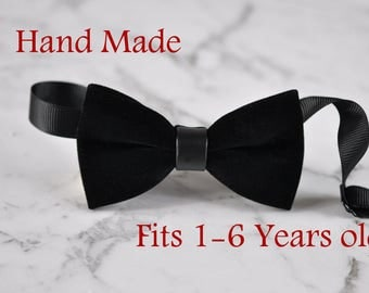 Baby Infant Kids Boy Solid Black Velvet Bowtie Bow Tie 1 to 6 Years Old Wedding Party