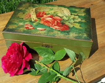 Vintage English School of Art hand painted wooden box