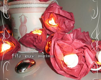 Garland electric 1 m 50 dial 20 heart ceramic Mulberry paper flowers