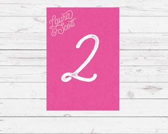 Wedding table numbers - pink - Sugar Rush design and printed on top quality thick card