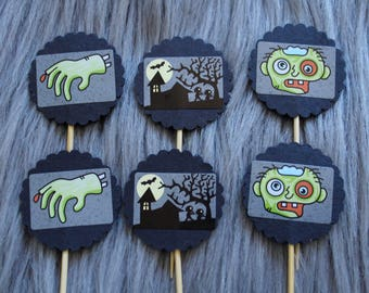 Halloween Zombie Cupcake Toppers, Cake Toppers with Zombie Hands and Zombies. Perfect for Party Decorations, Halloween.