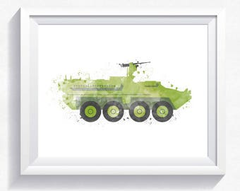 APC military armored car print, military car printable, military wall art, army car print, armored car printable, boy room wall art