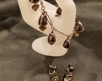 Vintage Siam charm dangle bracelet and screw back earrings