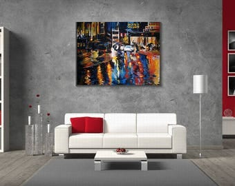 Rain oil art, landscape, gift for him, for her, Night city, original Oil Painting, Abstract Painting large painting, wall, palette knife