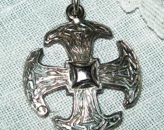 Antique, pendant,silver cross, sun cross,hand made, vintage