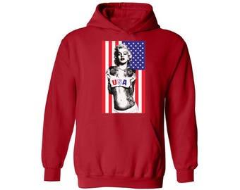 Merylin Monroe USA Flag Hoodie Sweatshirt Hooded Sweatshirt 4th of July USA Independence Day Flag Monroe