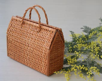 Wicker bag, bolsa de mimbre, sac en osier, market bag, kurvpose, Wickeltasche, korgväska, summer bag, sac du marché, gift for mom.