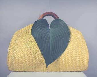 Yellow Crescent Straw Bag