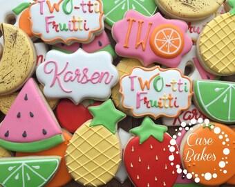 Two-tti Fruitti second birthday decorated cookies - 1 dozen