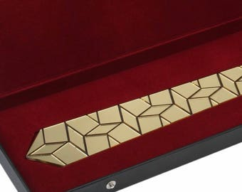 Dapper Tie - Gold Hex Style ( Suit Accessories - NeckTie , Neck Tie Modern Geometric Honeycomb  Hexagon tie)