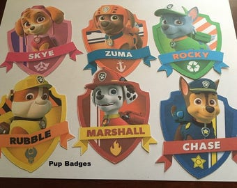 6 Paw Patrol Pup Badges