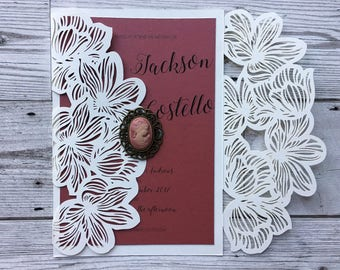 Lasercut vintage wedding invitation - wedding stationery - elegant wedding invitations