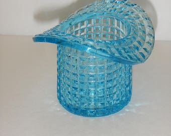 Vintage 1902 Early American Pressed Glass Aqua Top Hat Toothpick Holder by National Glass Co.