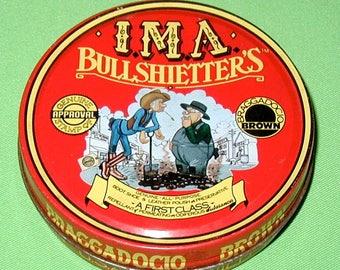 IMA Bullshietter's vintage shoe polish tin can rare collectible men women advertising