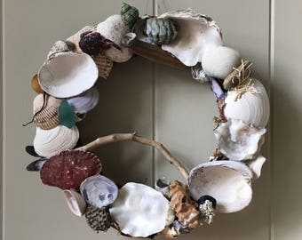 10 inch Beach Wreath/ Coastal Wreath/ Nautical Wreath/ Shell Wreath