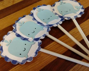 Gingham Blue Whale Cupcake Toppers