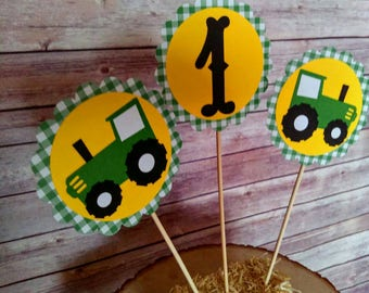 Tractor Centerpieces Set of Three, tractor centerpieces, tractor toppers, john Deere centerpieces, tractor party, tractor birthday, tractor