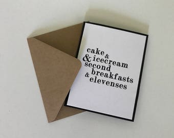 Second breakfast Lord of the Rings, The Hobbit funny birthday card