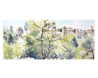 Watercolor of Clisson, view from the Garenne Lemot, forest landscape, Clisson panorama, nature and architecture, clisson landscape painting